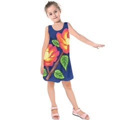 Sunset Flowers Kids  Sleeveless Dress