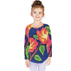 Sunset Flowers Kids  Long Sleeve Tee
