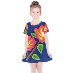 Sunset Flowers Kids  Simple Cotton Dress