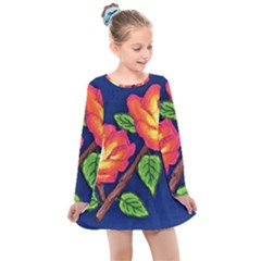 Sunset Flowers Kids  Long Sleeve Dress