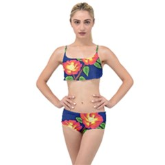 Sunset Flowers Layered Top Bikini Set