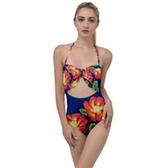 Sunset Flowers Scallop Top Cut Out Swimsuit