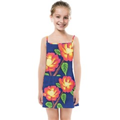 Sunset Flowers Kids Summer Sun Dress