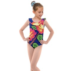 Sunset Flowers Kids  Frill Swimsuit