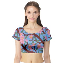 Cherry Blossoms Tree Short Sleeve Crop Top