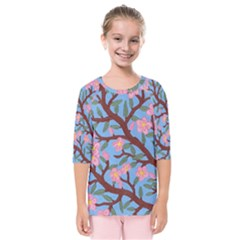 Cherry Blossoms Tree Kids  Quarter Sleeve Raglan Tee