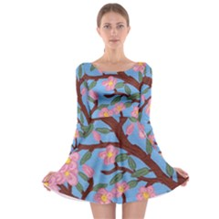 Cherry Blossoms Tree Long Sleeve Skater Dress