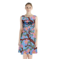 Cherry Blossoms Tree Sleeveless Waist Tie Chiffon Dress