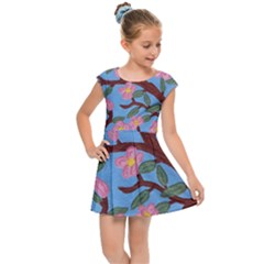 Cherry Blossoms Tree Kids Cap Sleeve Dress