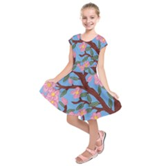 Cherry Blossoms Tree Kids  Short Sleeve Dress