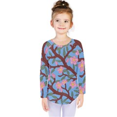 Cherry Blossoms Tree Kids  Long Sleeve Tee