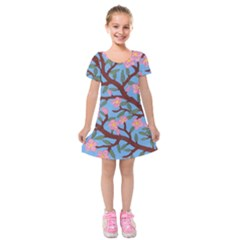 Cherry Blossoms Tree Kids  Short Sleeve Velvet Dress