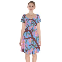 Cherry Blossoms Tree Short Sleeve Bardot Dress