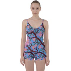 Cherry Blossoms Tree Tie Front Two Piece Tankini
