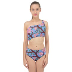 Cherry Blossoms Tree Spliced Up Two Piece Swimsuit