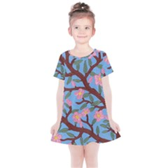 Cherry Blossoms Tree Kids  Simple Cotton Dress