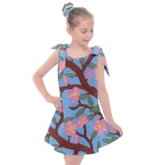 Cherry Blossoms Tree Kids  Tie Up Tunic Dress