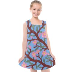 Cherry Blossoms Tree Kids  Cross Back Dress