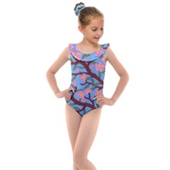 Cherry Blossoms Tree Kids  Frill Swimsuit