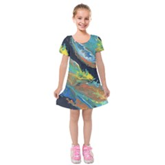 Space Kids  Short Sleeve Velvet Dress