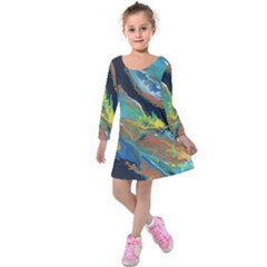 Space Kids  Long Sleeve Velvet Dress