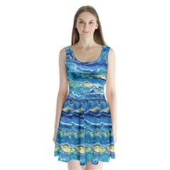 Sunlit Waters Split Back Mini Dress