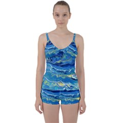 Sunlit Waters Tie Front Two Piece Tankini