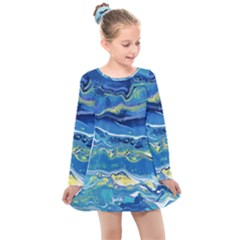 Sunlit Waters Kids  Long Sleeve Dress