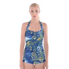 Churning Waters Boyleg Halter Swimsuit