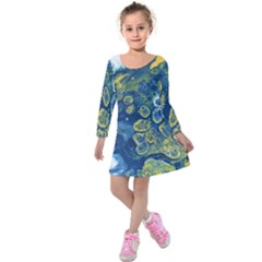 Churning Waters Kids  Long Sleeve Velvet Dress