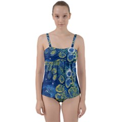 Churning Waters Twist Front Tankini Set