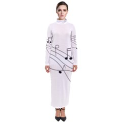 Music Partition Turtleneck Maxi Dress
