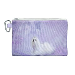 Cute Little Maltese, Soft Colors Canvas Cosmetic Bag (large) by FantasyWorld7