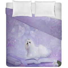 Cute Little Maltese, Soft Colors Duvet Cover Double Side (california King Size) by FantasyWorld7