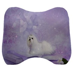 Cute Little Maltese, Soft Colors Velour Head Support Cushion by FantasyWorld7