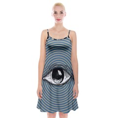 Pop Art Eye Spaghetti Strap Velvet Dress