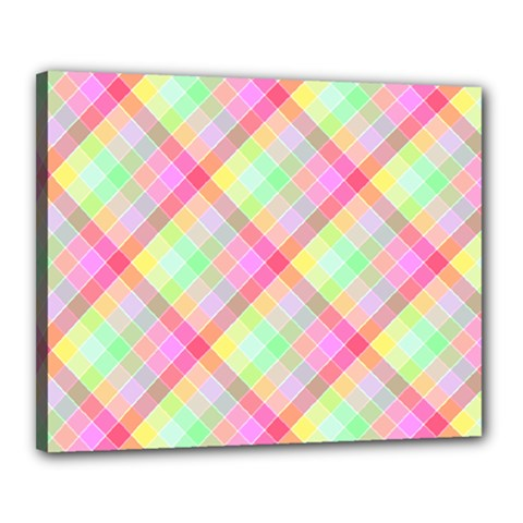 Pastel Rainbow Tablecloth Diagonal Check Canvas 20  X 16  (stretched) by PodArtist