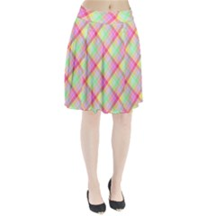 Pastel Rainbow Tablecloth Diagonal Check Pleated Skirt