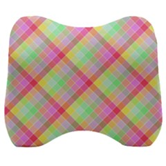Pastel Rainbow Tablecloth Diagonal Check Velour Head Support Cushion