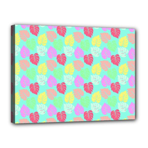 Pastel Rainbow Monstera Canvas 16  X 12  (stretched) by PodArtist
