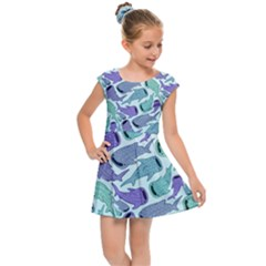 Whale Sharks Kids Cap Sleeve Dress by mbendigo