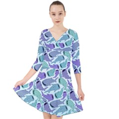 Whale Sharks Quarter Sleeve Front Wrap Dress by mbendigo