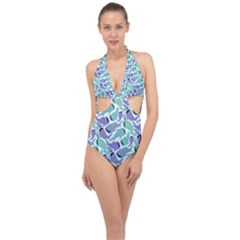 Whale Sharks Halter Front Plunge Swimsuit by mbendigo