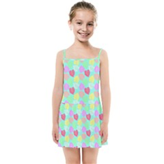 Pastel Rainbow Monstera Kids Summer Sun Dress