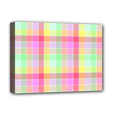 Pastel Rainbow Sorbet Ice Cream Check Plaid Deluxe Canvas 16  X 12  (stretched)  by PodArtist