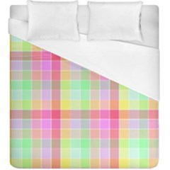 Pastel Rainbow Sorbet Ice Cream Check Plaid Duvet Cover (king Size) by PodArtist