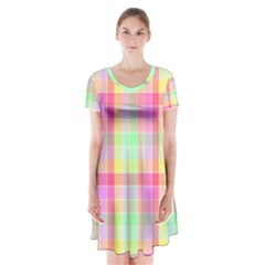 Pastel Rainbow Sorbet Ice Cream Check Plaid Short Sleeve V Neck Flare Dress