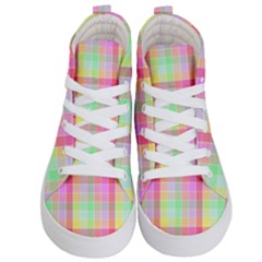 Pastel Rainbow Sorbet Ice Cream Check Plaid Kid s Hi Top Skate Sneakers