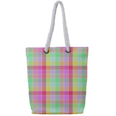 Pastel Rainbow Sorbet Ice Cream Check Plaid Full Print Rope Handle Tote (small)
