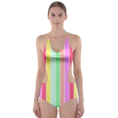 Pastel Rainbow Sorbet Deck Chair Stripes Cut-out One Piece Swimsuit by PodArtist